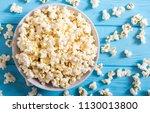 popcorn snack in bowl . pop... | Shutterstock . vector #1130013800