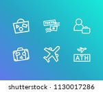 airport icon set and suitcase...