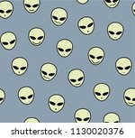 pale faces of aliens on a gray...   Shutterstock . vector #1130020376