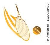 tennis racket hitting a ball...   Shutterstock .eps vector #1130028410