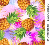 pineapples with palm leaves.... | Shutterstock .eps vector #1130030690