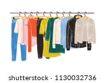 colored clothes or apparel... | Shutterstock .eps vector #1130032736