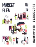 poster template for flea market ... | Shutterstock .eps vector #1130032793