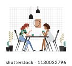 two girls or pair of female... | Shutterstock .eps vector #1130032796