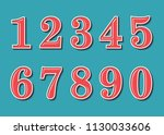 numbers retro vintage style.... | Shutterstock .eps vector #1130033606