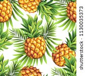 pineapples with palm leaves.... | Shutterstock .eps vector #1130035373