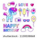 stickers set with unicorn ... | Shutterstock .eps vector #1130038868