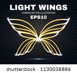 neon wings. fire and flame.... | Shutterstock .eps vector #1130038886