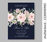 watercolor garden rose peony...   Shutterstock .eps vector #1130040983