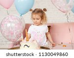 fun birthday with pretty little ... | Shutterstock . vector #1130049860