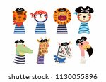 set of cute funny little... | Shutterstock .eps vector #1130055896