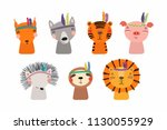 set of cute funny little tribal ... | Shutterstock .eps vector #1130055929