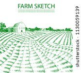 vector hand drawn farm field... | Shutterstock .eps vector #1130059139