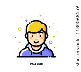 male user avatar. icon of cute... | Shutterstock .eps vector #1130068559