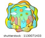 colorful building of big city.... | Shutterstock .eps vector #1130071433