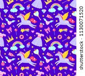 seamless pattern with unicorns... | Shutterstock .eps vector #1130071520