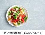 panzanella tomato salad with... | Shutterstock . vector #1130073746