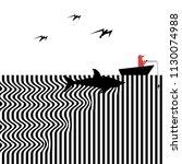 a shark approaches an... | Shutterstock .eps vector #1130074988