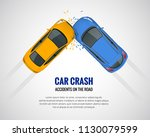 car crash  car accident top... | Shutterstock .eps vector #1130079599