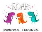 invitation card for a dinosaur ... | Shutterstock .eps vector #1130082923