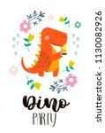 invitation card for a dinosaur ...   Shutterstock .eps vector #1130082926