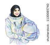 hand drawn arabian woman...   Shutterstock . vector #1130085740