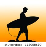 Silhouette Of A Surfer Carryin...