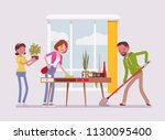 family cleaning the house.... | Shutterstock .eps vector #1130095400