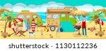 summer camp on beach. active...   Shutterstock .eps vector #1130112236