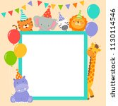 cute wildlife animals cartoon... | Shutterstock .eps vector #1130114546