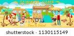 summer camp on beach. active...   Shutterstock .eps vector #1130115149
