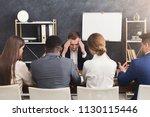 nervous applicant at job... | Shutterstock . vector #1130115446