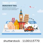 traveling family on vacation.... | Shutterstock .eps vector #1130115770