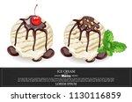 vanilla ice cream scoops with...   Shutterstock .eps vector #1130116859