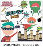 superhero party card with kids... | Shutterstock .eps vector #1130119103