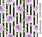 hand painted watercolor floral... | Shutterstock . vector #1130122040