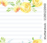 hand painted watercolor floral... | Shutterstock . vector #1130122043