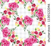 hand painted watercolor floral... | Shutterstock . vector #1130122046