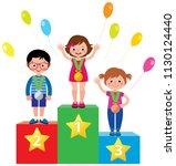 group of little children... | Shutterstock .eps vector #1130124440