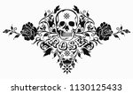 beautiful rose with skull... | Shutterstock .eps vector #1130125433