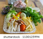 a plate of colourful vegetables ... | Shutterstock . vector #1130125994