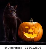 Stock photo halloween pumpkin and black cat scary spooky and creepy horror holiday superstition evil animal and 113012803