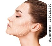 graphic lines showing facial...   Shutterstock . vector #1130131310