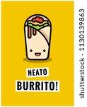 neato burrito pun poster vector ... | Shutterstock .eps vector #1130139863
