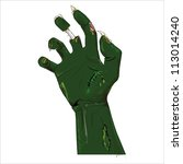 zombie hand isolated on white.... | Shutterstock .eps vector #113014240