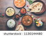 assorted indian food for lunch... | Shutterstock . vector #1130144480