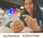 social network sharing and... | Shutterstock . vector #1130147966