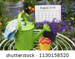 close up  watering can  gloves  ... | Shutterstock . vector #1130158520