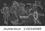 set of skydiving wing suit... | Shutterstock .eps vector #1130160089