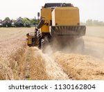 grain harvest. rear view of the ... | Shutterstock . vector #1130162804